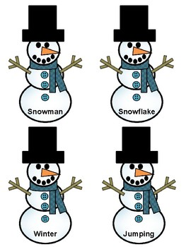 Snowman Hunt. Winter Game. Nouns, Verbs, and Adjectives Review.