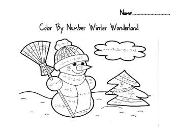 Snowman Integer Color by Number Winter Wonderland