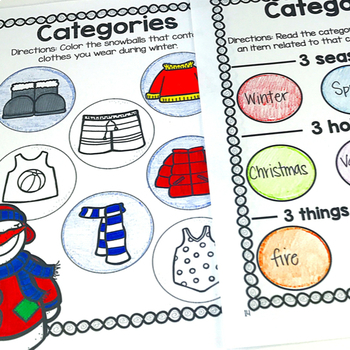 No Prep Receptive & Expressive Language Worksheets - Winter Edition