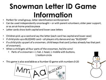 Snowman Letter ID game