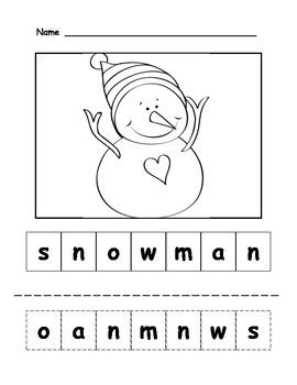 Snowman Letter Scramble