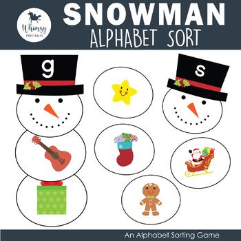 Snowman Letter Sort - Initial Sounds