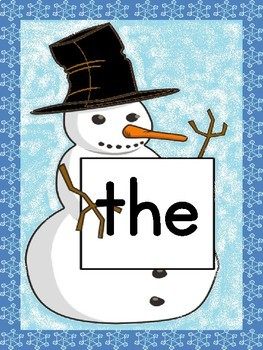 Snowman List 1 In  Fry First 100 High Frequency Sight Word Posters & Flashcards