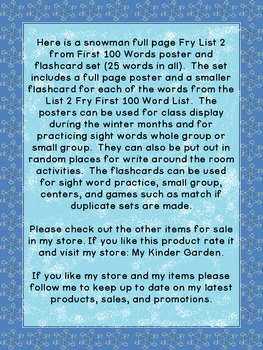 Snowman List 2 From  Fry First 100 Sight Word Posters and Flashcards