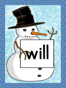 Snowman List 3 From  Fry First 100 Sight Word Posters and Flashcards