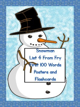 Snowman List 4 From  Fry First 100 Sight Word Posters and