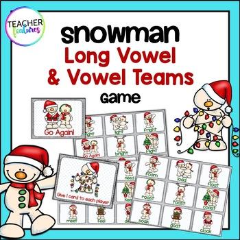 Snowman Literacy: Vowel Team Game