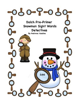 Snowman Magnifying Glass Dolch Pre Primer Sight Words