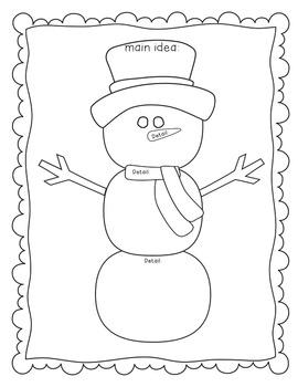 Snowman Main Idea/Details Graphic Organizer by Colors of ...