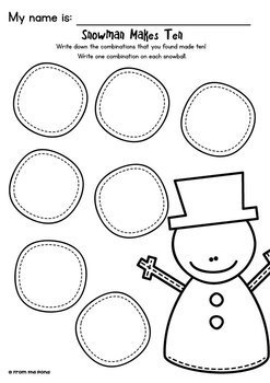 Snowman Makes Ten - Math Center Game for Early Number