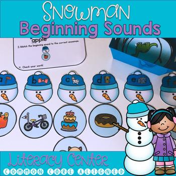 Snowman Beginning Sounds Literacy Center Game