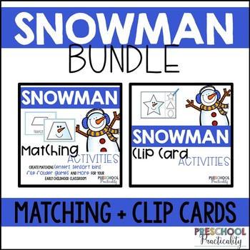 Snowman Match and Clip Card Bundle for Toddlers, Preschool, and PreK