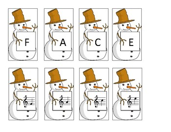 Snowman Matching Cards Treble Clef Spaces