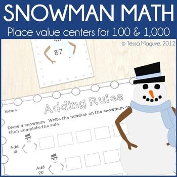 Place Value Centers: Snowman Math
