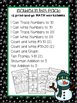 Snowman Math Activity Pack for Kindergarten