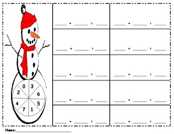 Snowman-Math-Adding 2 numbers-0-7