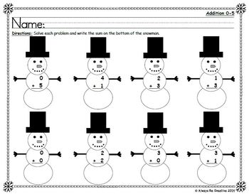 Snowman Math - Addition and Subtraction 0-10