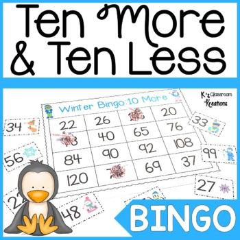 Winter Math Bingo Ten More and Ten Less