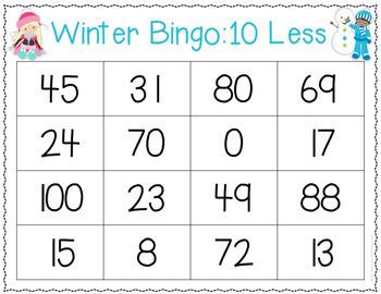 Winter Ten More and Ten Less Math Bingo