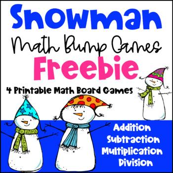 Winter Math Games: Snowman Math Bump Games Freebie