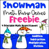 Winter Math Games: Snowman Math Bump Games Freebie: Winter Math Activities