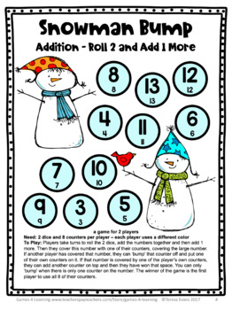 Winter Math Games: Snowman Math Bump Games Freebie: Winter Math Activities