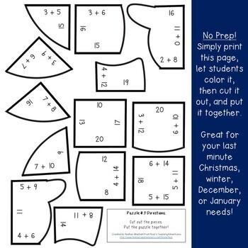 Snowman Math Centers: Addition Puzzles