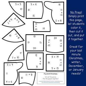 ADDITION Snowman Puzzles | Winter Math Activities or Games | Christmas FUN