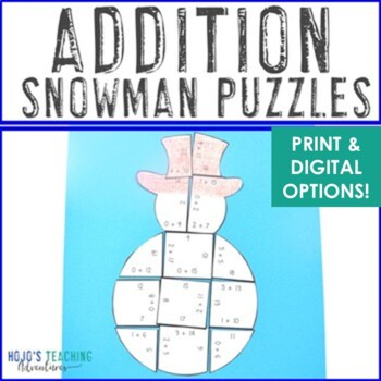 ADDITION Snowman Puzzles | FUN Winter Math Activities or Games