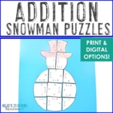 ADDITION Snowman Puzzles | Winter Math Activities or Games