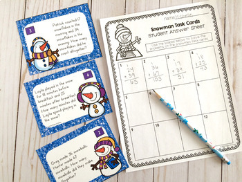 Snowman Math Centers (Addition With Regrouping)