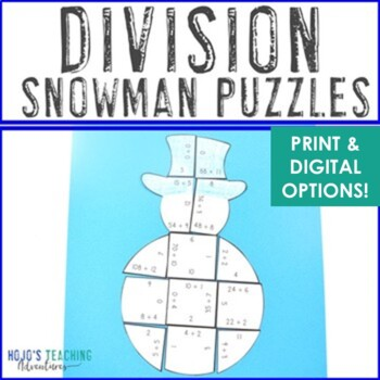 DIVISION Snowman Puzzles | FUN Christmas Math Centers, Activities, or Games