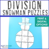 Snowman Math Centers: Division Puzzles | Christmas Math Stations