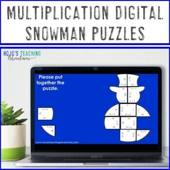 Snowman Math Centers: Multiplication Puzzles | Winter Math Centers