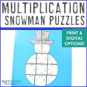 Snowman Math Centers: Multiplication Puzzles