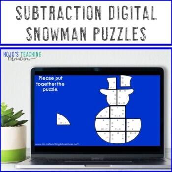 Snowman Math Centers: Subtraction Puzzles