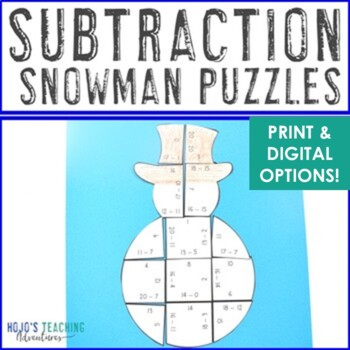 Winter Math Centers: Subtraction Snowman Puzzles | December Activities or Games