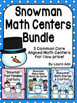 Snowman Math Centers/Craftivities Place Value, Number Stories and Fact Families