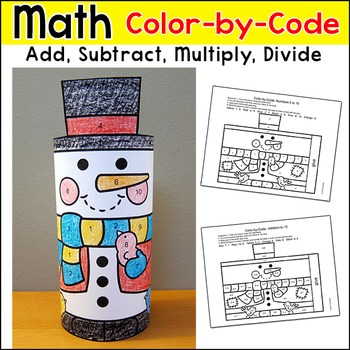 Snowman Math Color by Code 3D Character: Winter Math