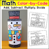 Snowman Math Color by Number 3D Character: Winter Math Craft