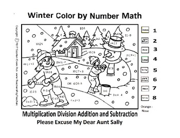 Snowman Math Color by Number Division Multiplication Add Div