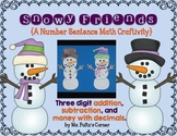 Snowman Math Craftivity: Addition and Subtraction Number S