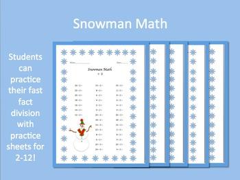 Snowman Math Division Practice