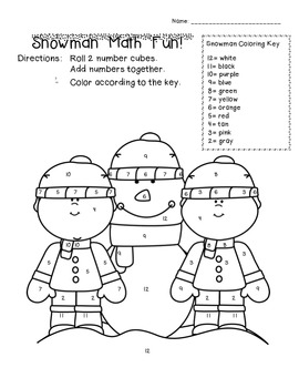 Snowman Math FREEBIE!