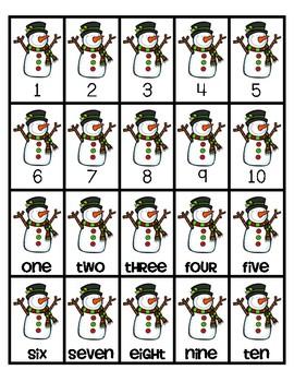 Snowman Math Fluency & Number Sense Cards   English   1-10