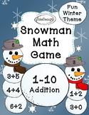 Snowman Math Game - Addition 1-10