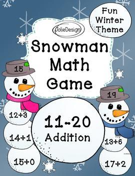 Snowman Math Game - Addition 11-20