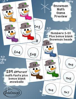 Snowman Math Game - Addition 1-20 BUNDLE