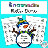 Snowman Math Game for Addition or Multiplication