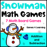 Winter Math Activities - Snowman Math Games Addition and Subtraction